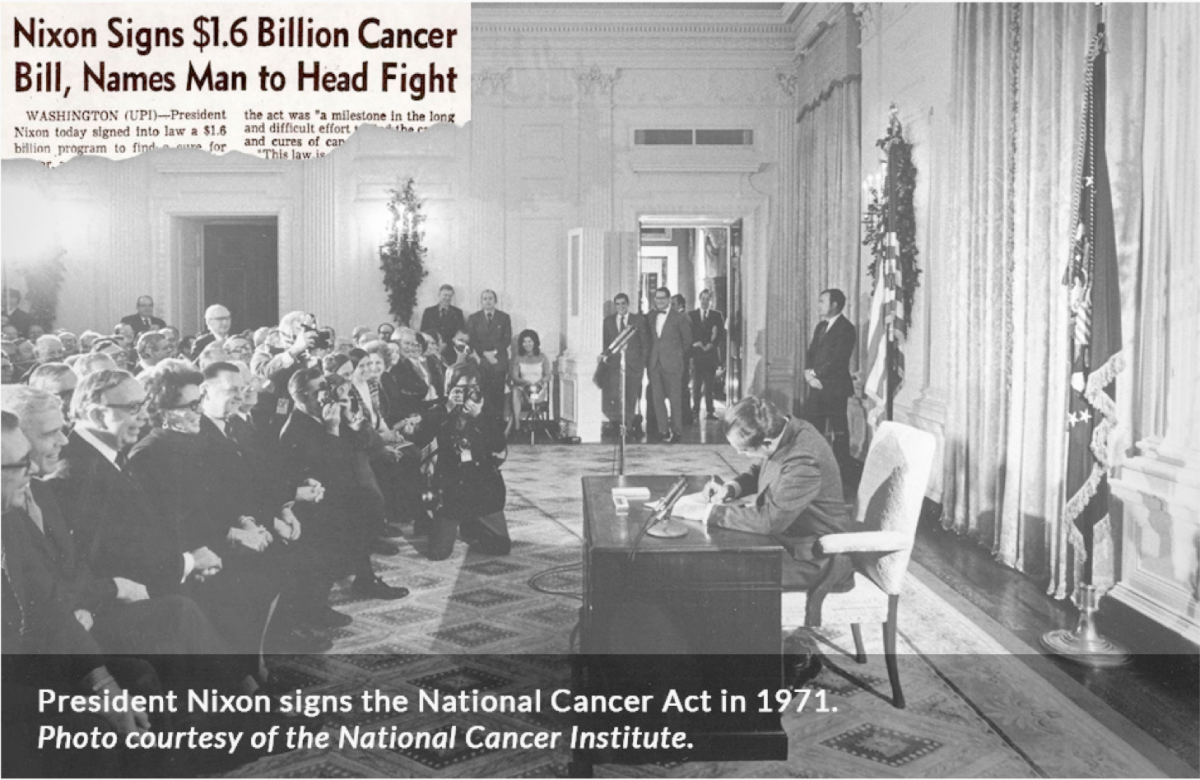 Newspaper clipping announcing President Nixon signing the National Cancer Bill for $1.6 Billion